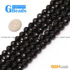 """Round Faceted Black Agate Natural Onyx Loose Beads Strand 15"""" for Jewelry Making"""