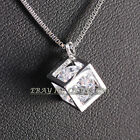 Fashion Cube Pendant Necklace 18KGP Rhinestone Crystal