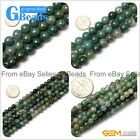 "Round Natural Moss Agate Loose Beads Gemstone strands 15"" for Jewelry Making"