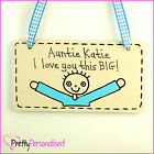 I Love You This Much Plaque Sign for Auntie Aunt Present Gift Idea Niece Nephew