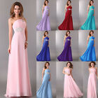 Girls Long One Shoulder Chiffon Evening Bridesmaid Prom Party Gowns Debut Dress