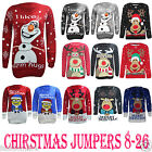 Men Women Ladies Snowman Novelty Reindeer XMAS Christmas Jumpers Sweater UK 8-26