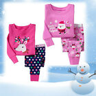 2 Colors Girls Christmas Sleepsuit Sleepwear Pajamas Set 1-7Y Santa Reindeer