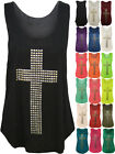 New Womens Cross Stud Racer Sleeveless Ladies Stretch Muscle Back Vest Top 8- 14