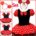 Minnie Mouse Reds Dots Princess School Party Costume Dresses SIZE 1 2 4 6 8 10Y