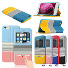 "Color Auto Smart Window View Touch Metal Flip PU Cover Case for 4.7"" iPhone 6"