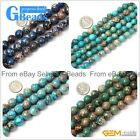 "Round Blue Green Crazy Lace Agate Loose Beads for Jewelry Making 15"" 8-14mm"