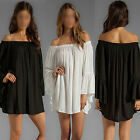 Sexy Women's Boho Ruffle Sleeve Off Shoulder Tunic Tops Long Blouse Mini Dress