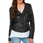 Slim Women Faux Leather Motorcycle Jacket Casual Long Sleeve Zipper Short Coat