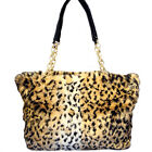 Vintage Chain Women Faux Fur Leopard Messenger Satchel Shoulder Purse Handbags
