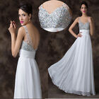 Bling Crystal Sequins Sexy Evening Bridesmaid Party Wedding Gown Long Prom Dress