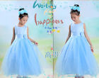 Blue Flower Girls Babies Wedding Birthday Party Bridesmaids Skirts Dress