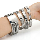 new arrival men's jewelry silver tone stainless steel wide bracelet polished