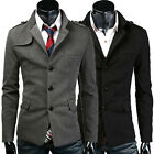 Single Breaste   Men Pea Coat Winter Blazer Jacket Military Wool Trench Suit Top
