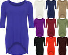 New Plus Size Womens Plain 3/4 Sleeve Stretch Long Ladies Dip Hem Top 16 - 26