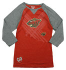Reebok NHL Hockey Youth Girls Minnesota Wild 3/4 Sleeve Raglan Shirt - Red