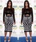 Celeb Zebra Striped Faux Leather Sexy Cropped Top Blouse+high Waist Pencil Skirt