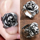Cool Mens Stainless Steel Rose Flower Skull Finger Ring Punk Gothic Jewelry Gift