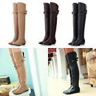 Elegant Women's Flat Heel Buckle Slouch Pull On Over The Knee Leather Boots #frd