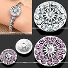 1Pc Crystal Peacock Feathers Snap On Button Fit Buckle Bracelet Bangle DIY