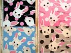 Rabbits and Dots Design Fabric Cotton Kobayashi Japanese Fabric - 110cm x 50cm