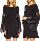 Vogue Lace Fringe Cuff Flared Sleeve Women's Cocktail Party Shift Mini Dress Hot
