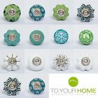 Green White Ceramic Resin Door Knobs Handles Furniture Drawer Pulls Cupboard