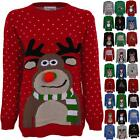 Ladies Knitted Christmas Reindeer Snow Santa Olaf Minion Women's T-Shirt Jumper