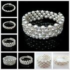 New Fashion Women Pearl Crystal Cuff Bangle Wedding Bridal Wristband Bracelet