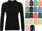 New Plus Size Womens Button V Neck Long Sleeve Top Ladies Knitted Jumper 14 - 20