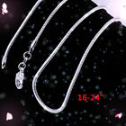 XMAS 10pcs Wholesale Solid Silver 1mm Snake Chain Necklace 16-24 inch HOAU