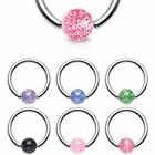 Captive Bead Ring with Ultra Glitter Ball Surgical Steel Tragus Labret Hoop
