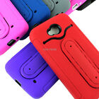 For LG Realm LS620 Boost Tough Rugged Impact Hybrid Card Holder Case Cover Stand