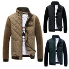 Mens Cotton Padded Coat Quilted Jacket Stand Collar Splice Winter Zip Up Outwear