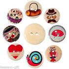 50PCs Mixed 2 Holes Wooden Buttons Fit Sewing DIY Scrapbook