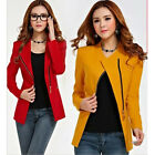 New Women Long Sleeve POLO Neck Solid Slim Casual Suit Jacket Blazer Coat Zipper