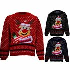 Girls XMAS Festive Snow Childrens Rudolph Reindeer Christmas Knitted Jumper