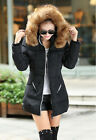 PRETTY Womens Down Jacket Long Coat Hooded Winter Big Fur Collar Outerwear UKMW