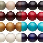 16 inch Strand of 20 Big Colored 20mm Round Waxed Smooth Wooden Wood Beads