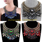 Vintage Handmade Gold Chain Multicolor Glass Statement Pendant Collar Necklace