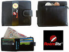 Leather Mens Slim Fold Wallet 10 Credit Cards Zip Coin Section Roamlite RL407AW