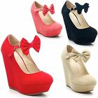 New Ladies Faux Suede Platform Mary Jane Bow High Wedge Shoes Sizes UK 3-8