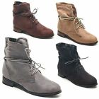 Ladies Womens Mid Low Heel Faux Suede Lace Up Pixie Ankle Boots Shoes Size 3-8