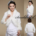Long Sleeves Bridal Jackets Faux Fur Coat Cloaks Wedding Party Girls Cape Shrugs