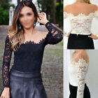 New Sexy Womens Off-Shoulder Long Sleeve Floral Lace Mesh Shirt Blouse Slim Tops