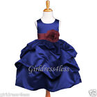 NAVY/BURGUNDY/WINE WEDDING PICK UP FLOWER GIRL DRESS 6M 12M 18M 2 4 6 8 10 12