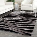 Safavieh Hand-Tufted Silken BLACK / GREY 3D Shag Area Rugs - SG551E