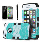 For Apple iPhone 4 / 4S Rugged Rubber Matte Hard Case Cover w/ Screen Protect