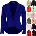 Women's Long Sleeve Frill Shift Fitted Low Back Blazer Ladies Jacket