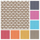 NOVELTY MOUSTACHE COTTON FABRIC by the metre    ALL COLOURS